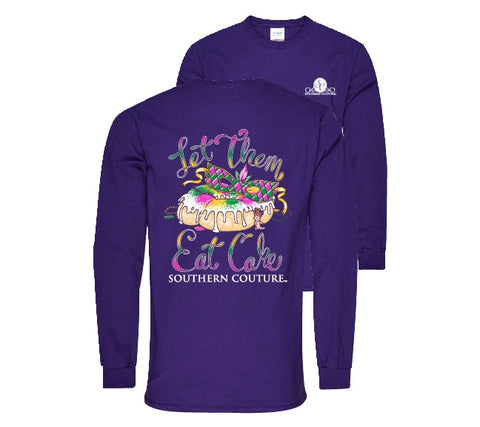 1f13e8ef Southern Couture Preppy Let Them Eat Cake Mardi Gras Long Sleeves T-Shirt