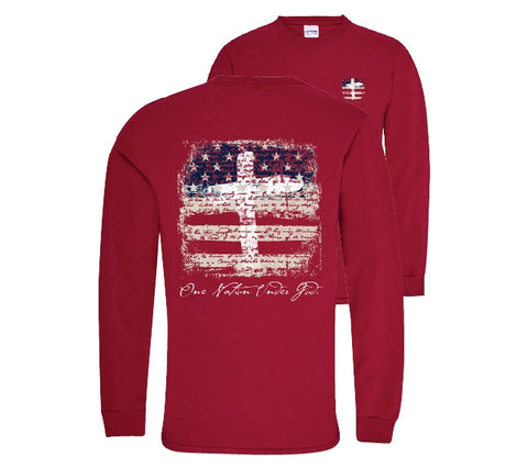 Southern Couture Preppy One Nation USA America Long Sleeve T-Shirt - SimplyCuteTees