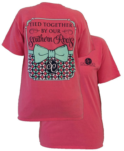 Southern Couture Preppy Tied Together By Southern Roots Pattern Bow Comfort Colors Watermelon Girlie Bright T Shirt - SimplyCuteTees