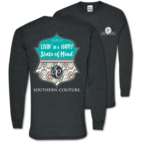7118e3189 Southern Couture Preppy Happy State of Mind Long Sleeve T-Shirt