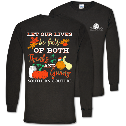 Southern Couture Preppy Thanks & Giving Fall Long Sleeve T-Shirt