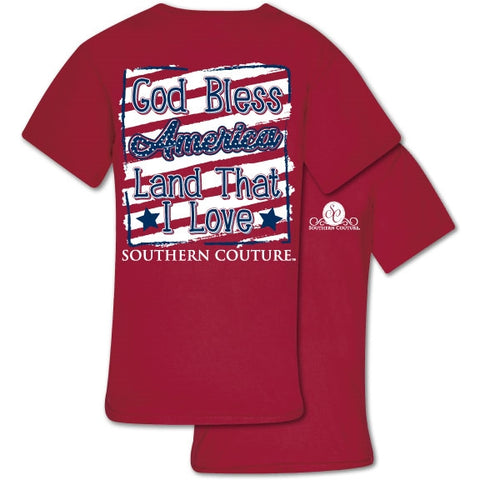 Southern Couture Preppy God Bless America USA Comfort Colors T-Shirt