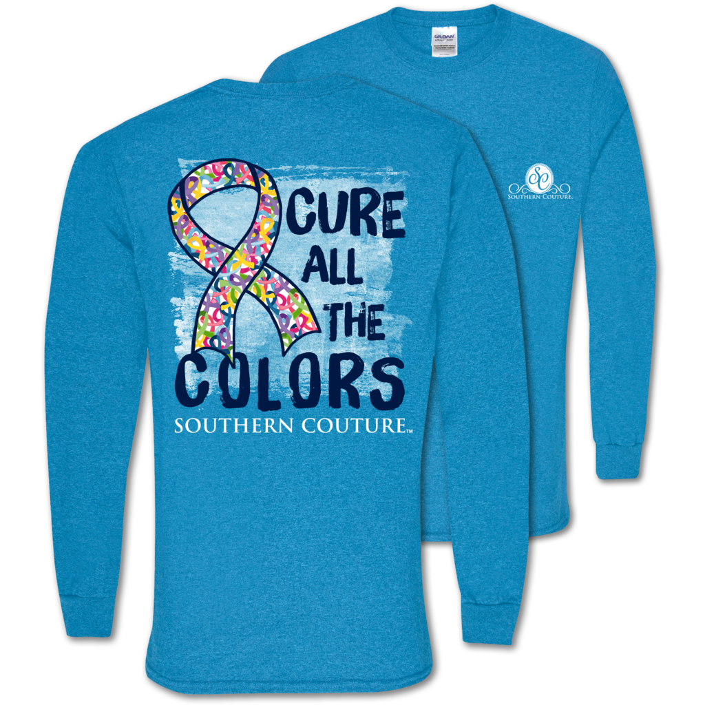 Southern Couture Classic Cure All The Colors Cancer Long Sleeve T-Shirt