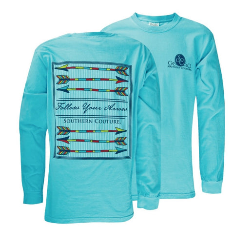 Southern Couture Preppy Follow Your Arrow Comfort Colors Lagoon Blue Girlie Long Sleeve Bright T Shirt - SimplyCuteTees