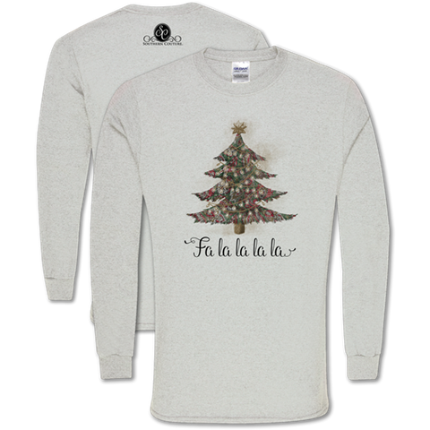 28c4068ca1ac Southern Couture Classic Fa La La Tree Holiday Long Sleeve T-Shirt