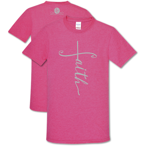 Southern Couture Soft Collection Vertical Faith Pink T-Shirt