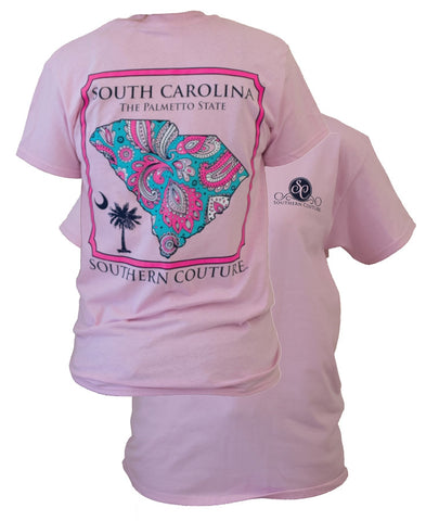 SALE Southern Couture South Carolina Preppy Paisley State Pattern Palmetto State Girlie Bright T Shirt
