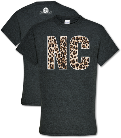 Southern Couture Soft Collection Leopard North Carolina T-Shirt