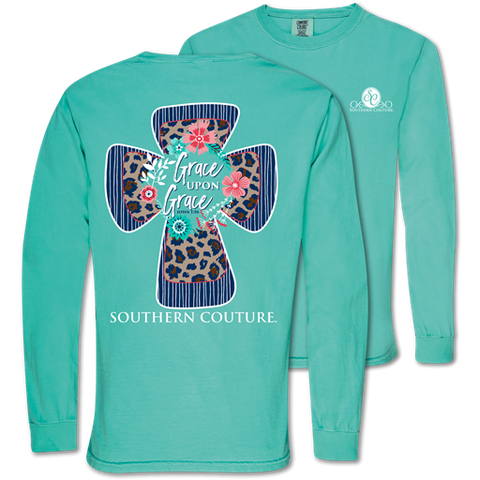 Southern Couture Grace Upon Grace Cross Comfort Colors Long Sleeve T-Shirt