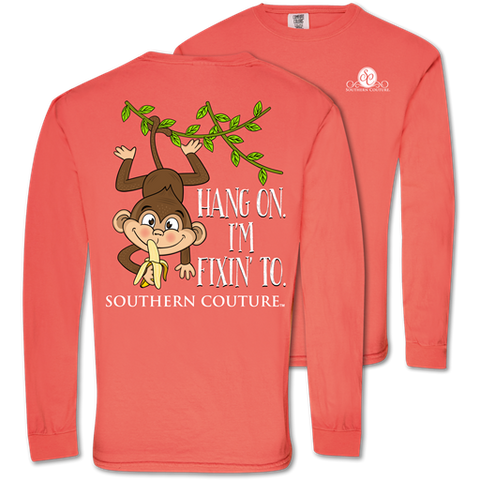 Southern Couture Fixin' To Monkey Comfort Colors Long Sleeve T-Shirt