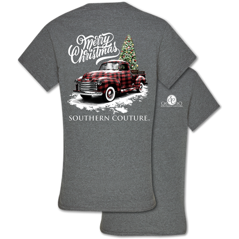 Southern Couture Classic Buffalo Plaid Truck Holiday T-Shirt