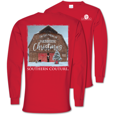 Southern Couture Classic Farmhouse Christmas Holiday Long Sleeve T-Shirt