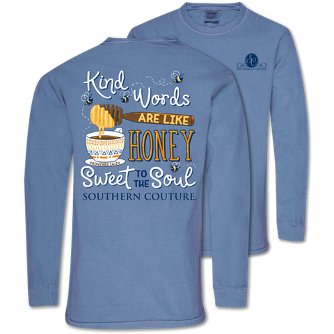 Southern Couture Kind Words Bee Honey Comfort Colors Long Sleeve T-Shirt