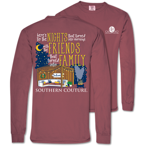 Southern Couture Here's to the Nights Family Comfort Colors Long Sleeve T-Shirt
