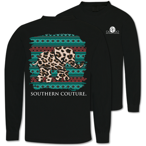Southern Couture Leopard Elephant Comfort Colors Long Sleeve T-Shirt