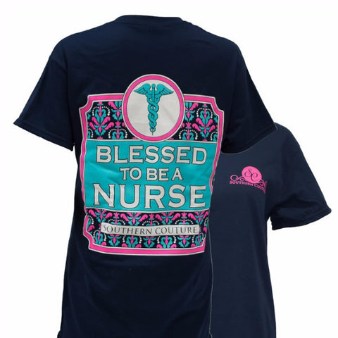 Southern Couture Preppy Blessed to be a Nurse Girlie Bright T Shirt - SimplyCuteTees