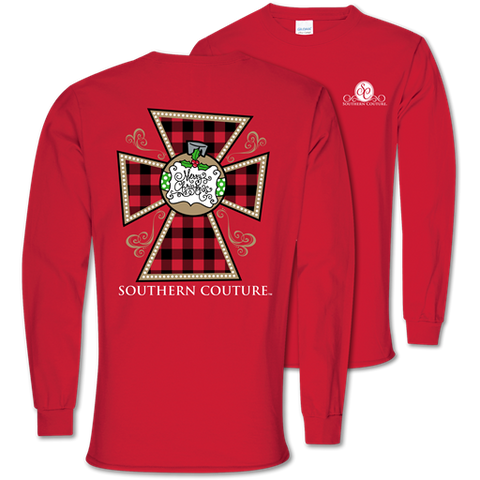 Southern Couture Classic Merry Christmas Cross Holiday Long Sleeve T-Shirt