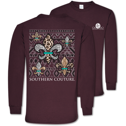 Southern Couture Classic Animal Print Fleur De Lis Long Sleeve T-Shirt