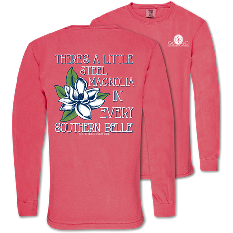 Southern Couture A Little Steel Magnolia Comfort Colors Long Sleeve T-Shirt