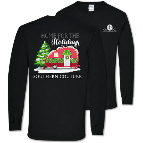 Southern Couture Classic Home For the Holidays Camper Long Sleeve T-Shirt