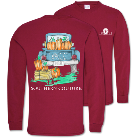88011aa8f55c Southern Couture Classic Happy Fall Y'All Pumpkins Long Sleeve T-Shirt