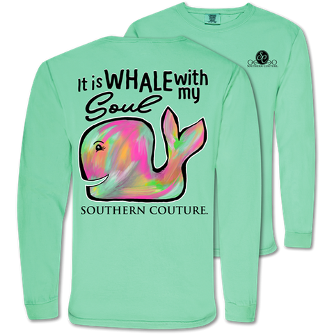 Southern Couture Whale With My Soul Comfort Colors Long Sleeve T-Shirt
