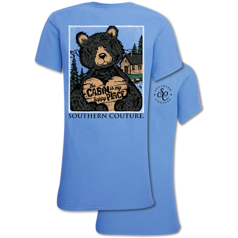 Southern Couture Classic Collection Cabin Happy Place Bear T-Shirt