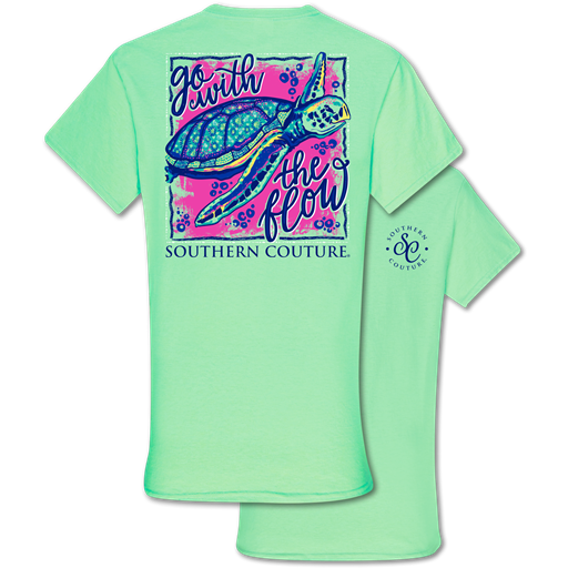 Southern Couture Classic Collection Go With The Flow Turtle T-Shirt