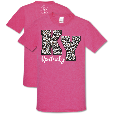 Southern Couture Soft Collection Leopard Kentucky Pink T-Shirt