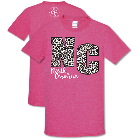 Southern Couture Soft Collection Leopard North Carolina Pink T-Shirt