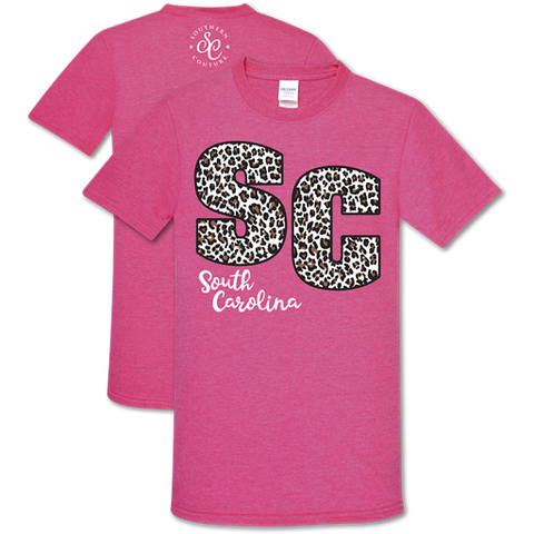 Southern Couture Soft Collection Leopard South Carolina Pink T-Shirt
