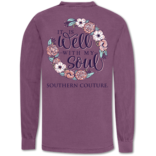 Southern Couture Well With My Soul Comfort Colors Long Sleeve T-Shirt