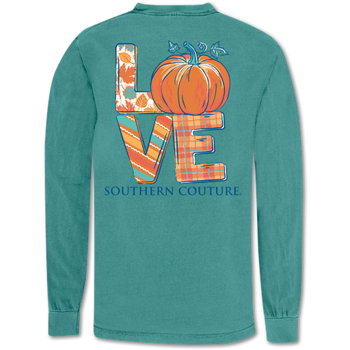 Southern Couture Love Pumpkin Fall Comfort Colors Long Sleeve T-Shirt
