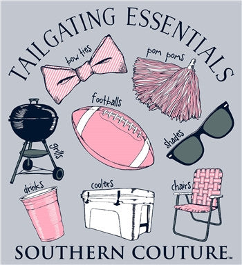 Southern Couture Tailgating Essentials Football Bow Pom Poms Cooler Long Sleeve Girlie Bright T Shirt - SimplyCuteTees