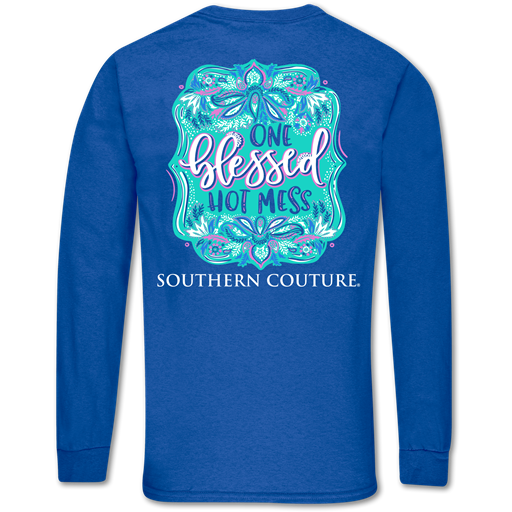 Southern Couture Classic Blessed Hot Mess Long Sleeve T-Shirt