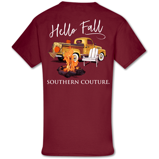Southern Couture Classic Hello Fall Bonfire Truck T-Shirt
