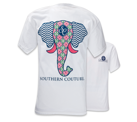 Southern Couture Preppy Elephant Chevron Pattern Comfort Colors White Girlie  Bright T Shirt - SimplyCuteTees