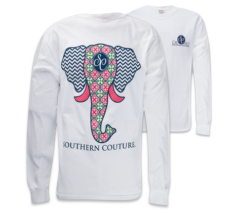 Southern Couture Preppy Elephant Chevron Pattern Comfort Colors White Girlie Long Sleeve Bright T Shirt - SimplyCuteTees
