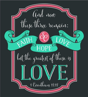 Southern Couture Faith Hope Love Christian Girlie Bright T Shirt
