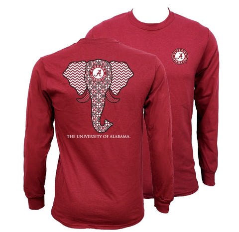 Southern Couture Alabama Crimson Tide Bama Tribal Chevron Elephant Long Sleeve Girlie Bright T Shirt