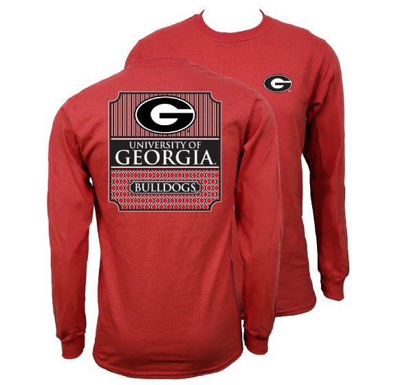 Southern Couture University of Georgia Bulldogs Classic Preppy Long Sleeve Girlie Bright T Shirt - SimplyCuteTees