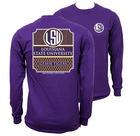 Southern Couture Preppy LSU Tigers Louisiana State University Long Sleeve T Shirt - SimplyCuteTees