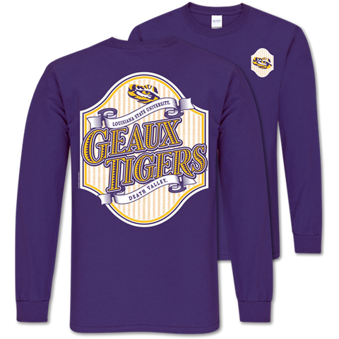 Southern Couture Classic Louisiana LSU Tigers Seersucker Long Sleeve T-Shirt