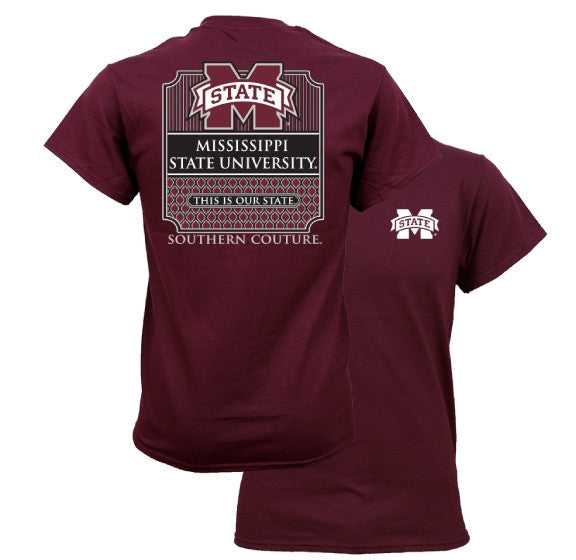 Southern Couture MSU Bulldogs Mississippi State University Preppy Logo Girlie Bright T Shirt - SimplyCuteTees