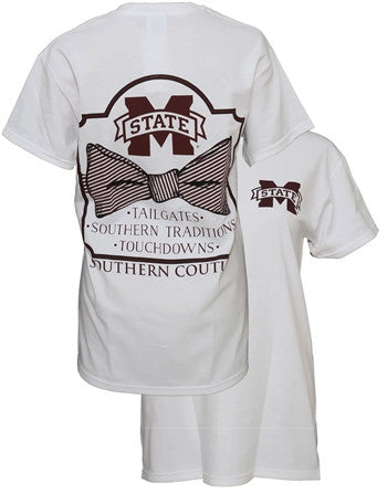 Southern Couture MSU Classic Bow University of Mississippi State Girlie Bright T Shirt - SimplyCuteTees