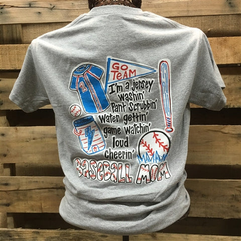 Southern Chics Funny Baseball Mom 4 Red Sweet Girlie Gray Bright T Shirt