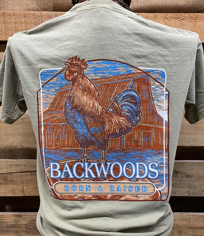 Backwoods Born & Raised Rooster Country Comfort Colors Bright Unisex T Shirt