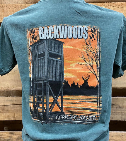 Backwoods Born & Raised Shooting House Deer Stand Country Comfort Colors Unisex T Shirt