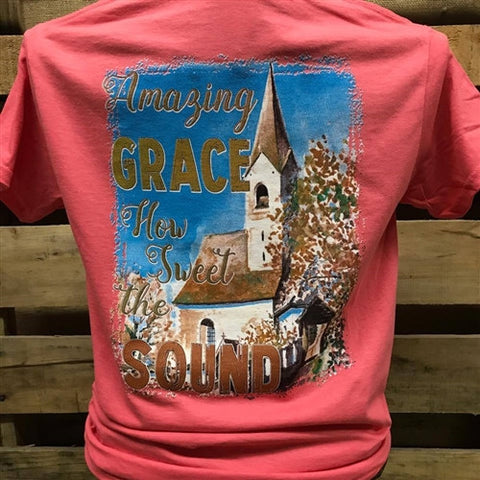 Southern Chics Amazing Grace How Sweet the Sound Church Christian Girlie Bright T Shirt