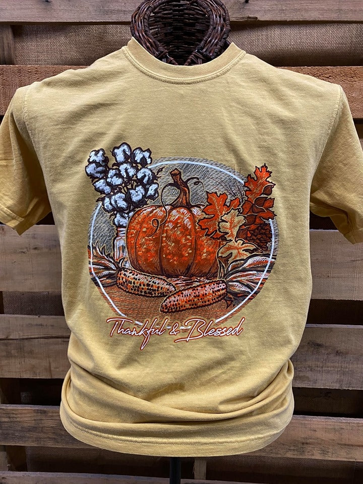 Southern Chics Apparel Thankful & Blessed Pumpkin Comfort Colors T Shirt